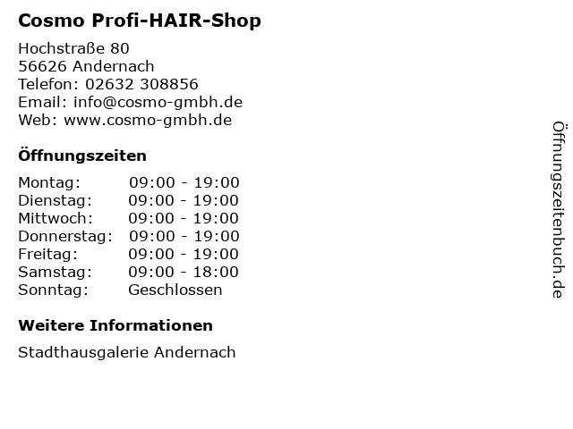 Cosmo Profi-HAIR-Shop in Andernach: Adresse und Öffnungszeiten
