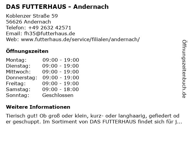 Das Futterhaus-Franchise GmbH & Co. KG in Andernach: Adresse und Öffnungszeiten