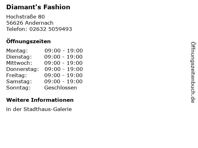 Diamant's Fashion in Andernach: Adresse und Öffnungszeiten