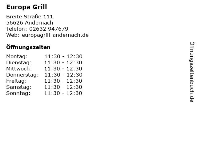 Europa Grill in Andernach: Adresse und Öffnungszeiten