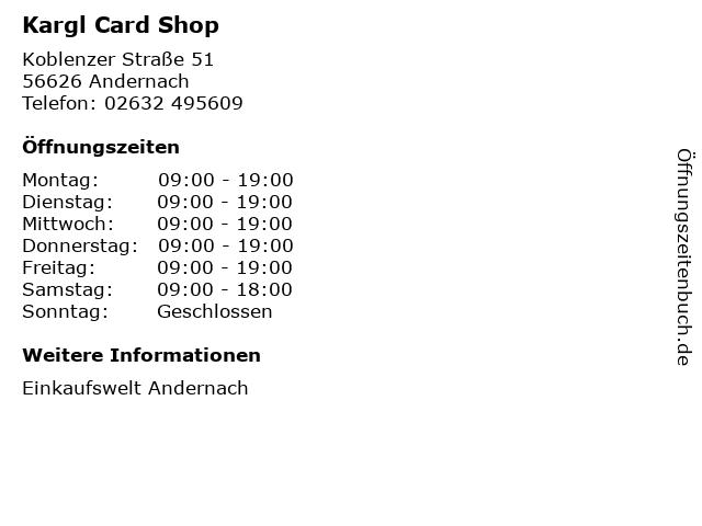 Kargl Card Shop in Andernach: Adresse und Öffnungszeiten