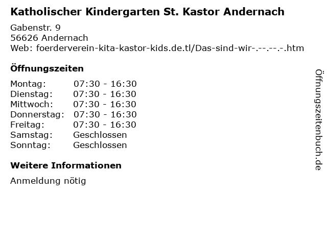 Katholischer Kindergarten St. Kastor Andernach in Andernach: Adresse und Öffnungszeiten
