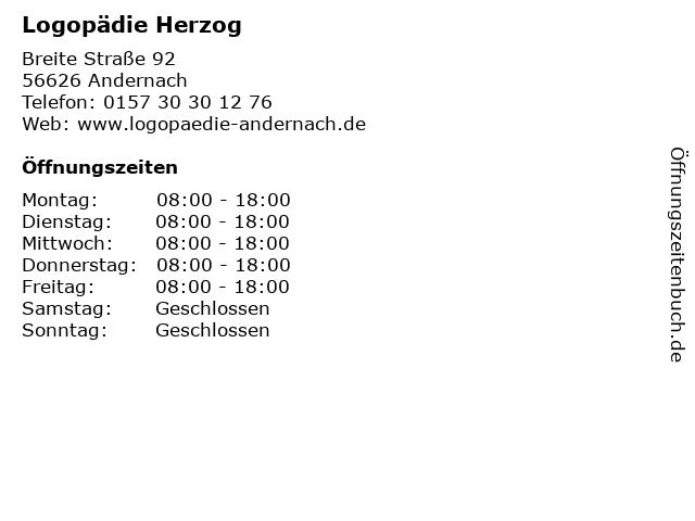 Logopädie Herzog in Andernach: Adresse und Öffnungszeiten