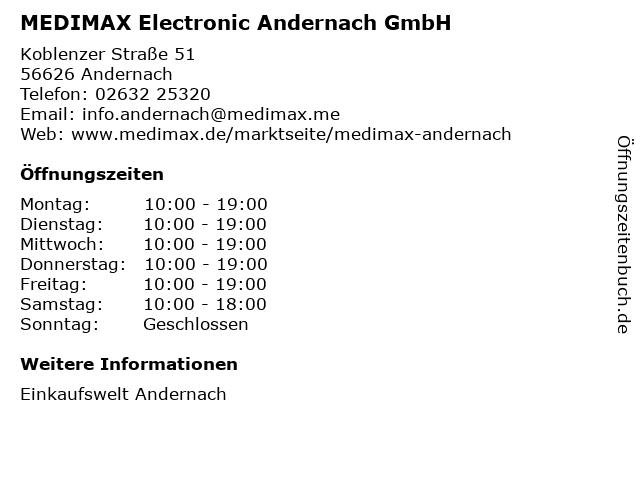 MEDIMAX Electronic Andernach GmbH in Andernach: Adresse und Öffnungszeiten