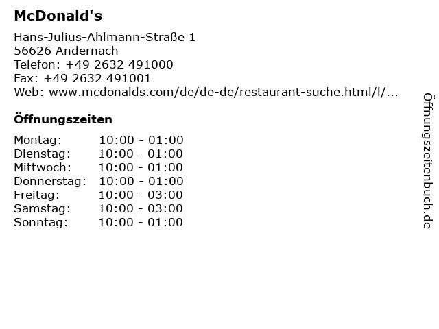 McDonald's in Andernach: Adresse und Öffnungszeiten