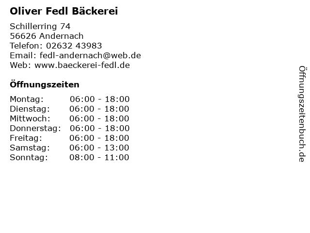 Oliver Fedl Bäckerei in Andernach: Adresse und Öffnungszeiten