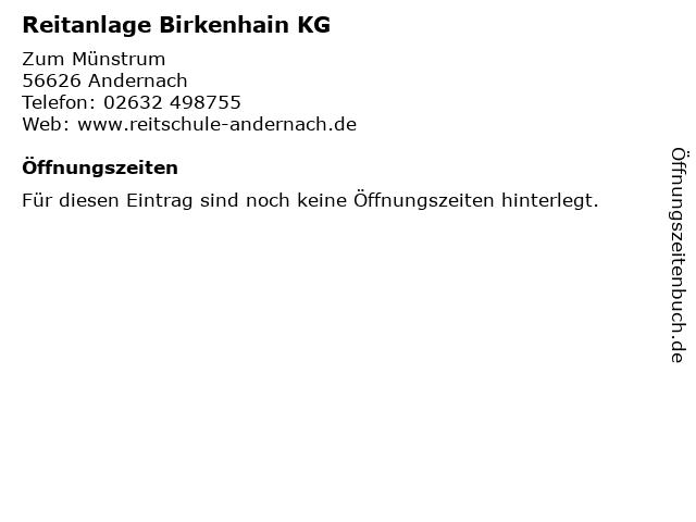 Reitanlage Birkenhain KG in Andernach: Adresse und Öffnungszeiten