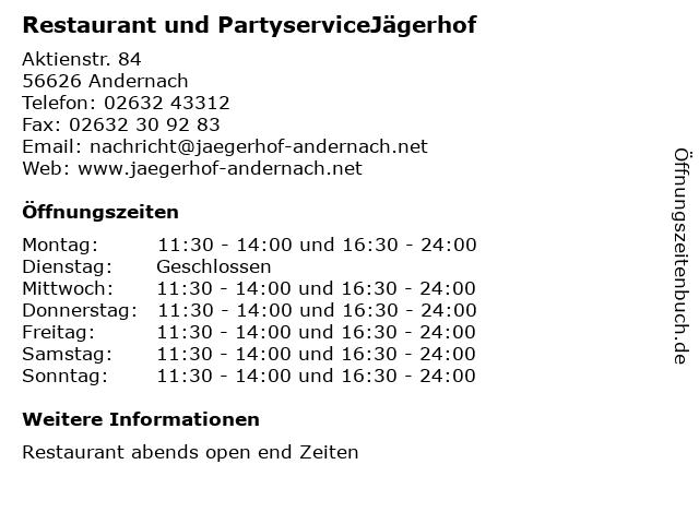 Restaurant und PartyserviceJägerhof in Andernach: Adresse und Öffnungszeiten