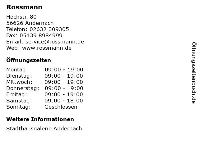 Dirk Rossmann GmbH in Andernach: Adresse und Öffnungszeiten