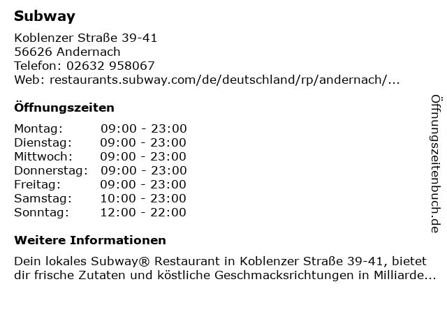 Subway in Andernach: Adresse und Öffnungszeiten