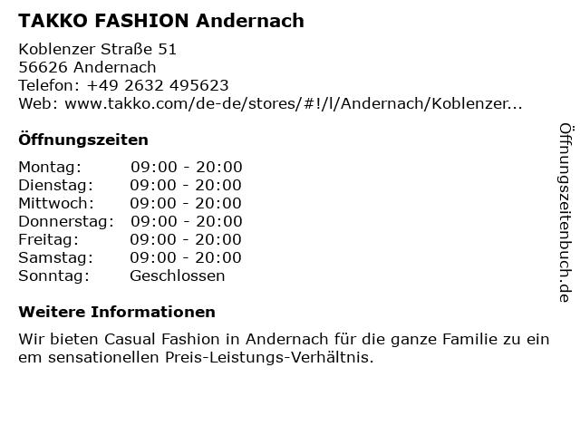 Takko Fashion in Andernach: Adresse und Öffnungszeiten
