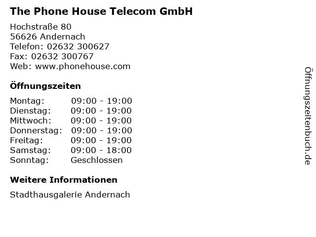 The Phone House Telecom GmbH in Andernach: Adresse und Öffnungszeiten
