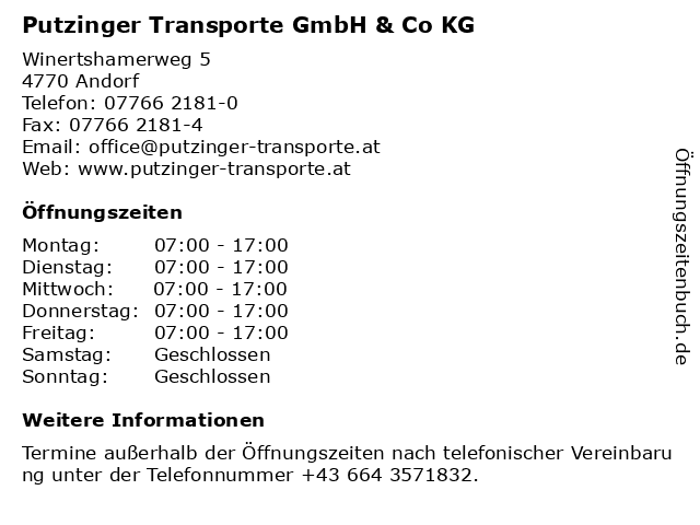 Putzinger Transporte GmbH & Co KG in Andorf: Adresse und Öffnungszeiten