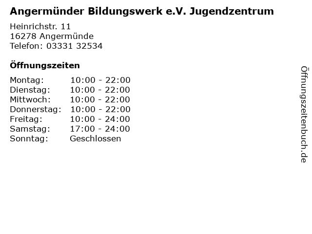 Angermünder Bildungswerk e.V. Jugendzentrum in Angermünde: Adresse und Öffnungszeiten