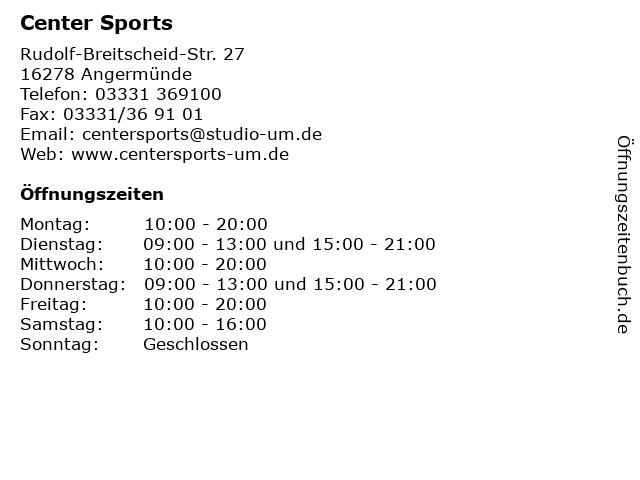 Center Sports in Angermünde: Adresse und Öffnungszeiten