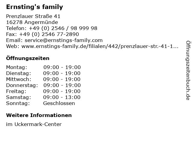 Ernsting's family in Angermünde: Adresse und Öffnungszeiten