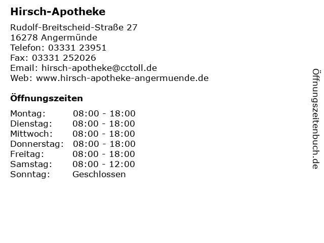 Hirsch-Apotheke in Angermünde: Adresse und Öffnungszeiten