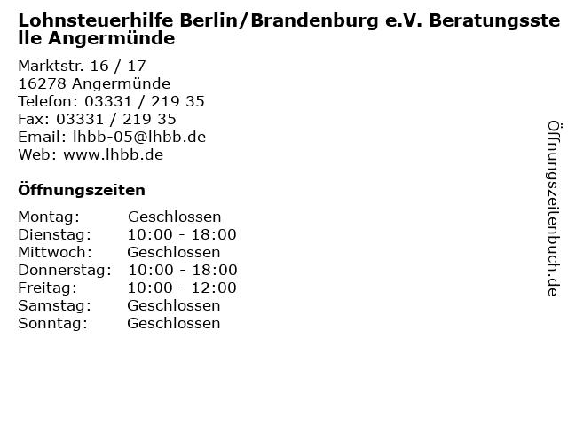 Lohnsteuerhilfe Berlin/Brandenburg e.V. Beratungsstelle Angermünde in Angermünde: Adresse und Öffnungszeiten