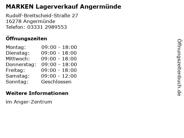 MARKEN Lagerverkauf Angermünde in Angermünde: Adresse und Öffnungszeiten