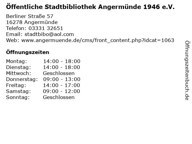 Öffentliche Stadtbibliothek Angermünde 1946 e.V. in Angermünde: Adresse und Öffnungszeiten
