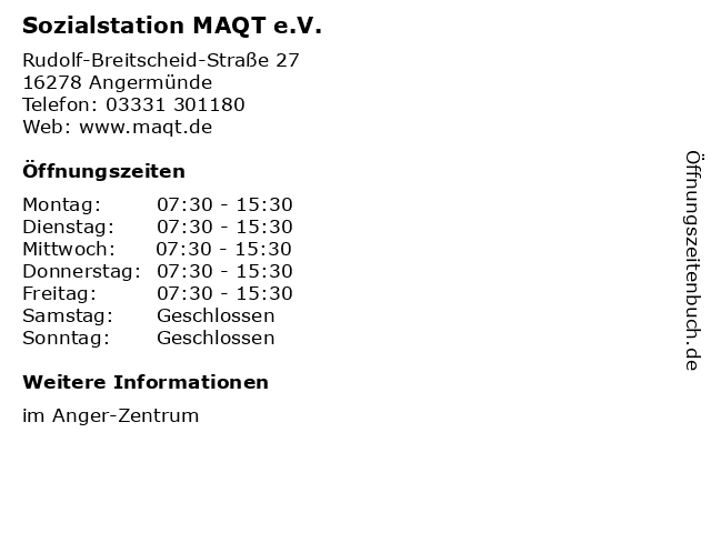 Sozialstation MAQT e.V. in Angermünde: Adresse und Öffnungszeiten