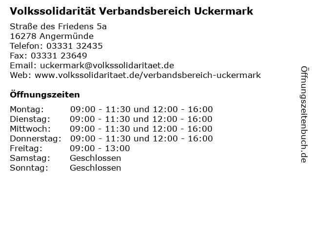 Volkssolidarität Verbandsbereich Uckermark in Angermünde: Adresse und Öffnungszeiten