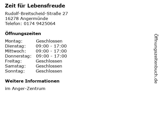 Zeit für Lebensfreude in Angermünde: Adresse und Öffnungszeiten