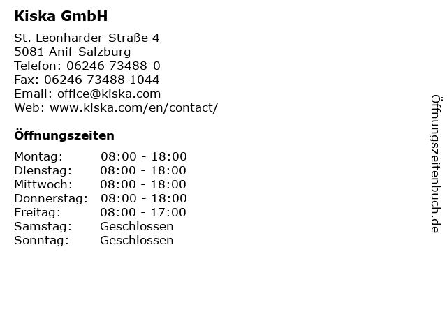 Kiska GmbH in Anif-Salzburg: Adresse und Öffnungszeiten
