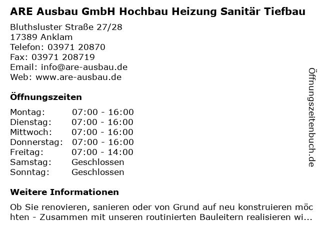 ARE Ausbau GmbH Hochbau Heizung Sanitär Tiefbau in Anklam: Adresse und Öffnungszeiten