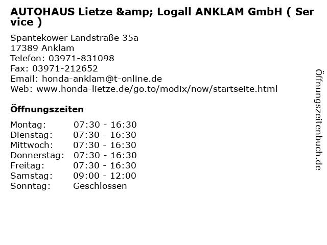 AUTOHAUS Lietze & Logall ANKLAM GmbH ( Service ) in Anklam: Adresse und Öffnungszeiten