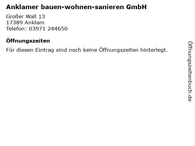 Anklamer bauen-wohnen-sanieren GmbH in Anklam: Adresse und Öffnungszeiten