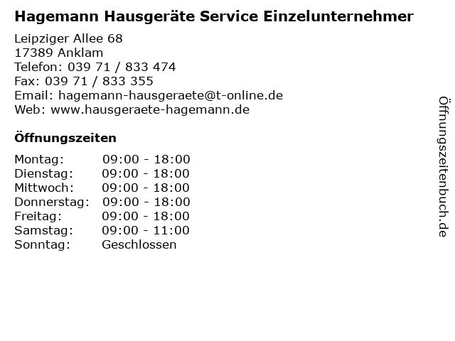 Hagemann Hausgeräte Service Einzelunternehmer in Anklam: Adresse und Öffnungszeiten