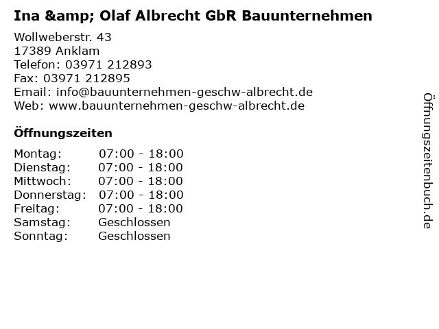 Ina & Olaf Albrecht GbR Bauunternehmen in Anklam: Adresse und Öffnungszeiten