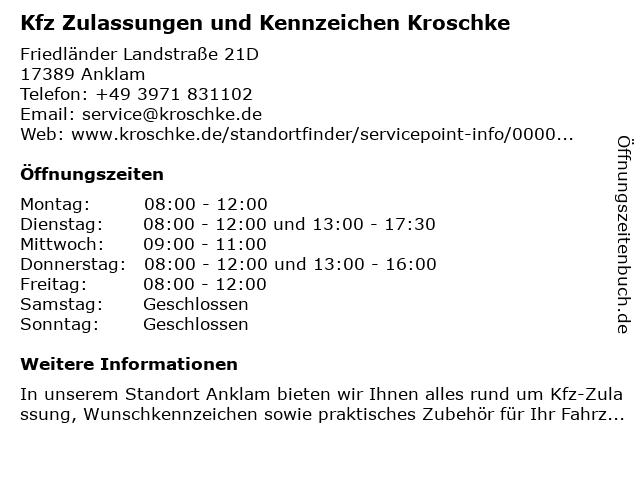 Kfz Zulassungen und Kennzeichen Kroschke in Anklam: Adresse und Öffnungszeiten