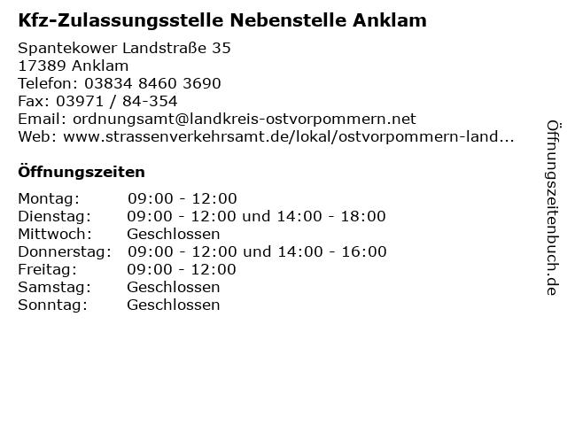 Kfz-Zulassungsstelle Nebenstelle Anklam in Anklam: Adresse und Öffnungszeiten