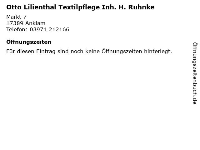 Otto Lilienthal Textilpflege Inh. H. Ruhnke in Anklam: Adresse und Öffnungszeiten