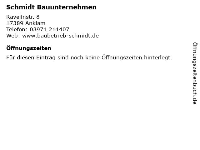 Schmidt Bauunternehmen in Anklam: Adresse und Öffnungszeiten