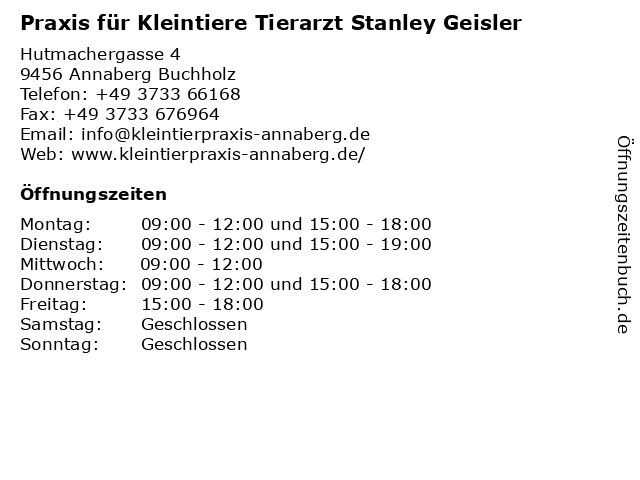 Praxis für Kleintiere Tierarzt Stanley Geisler in Annaberg Buchholz: Adresse und Öffnungszeiten