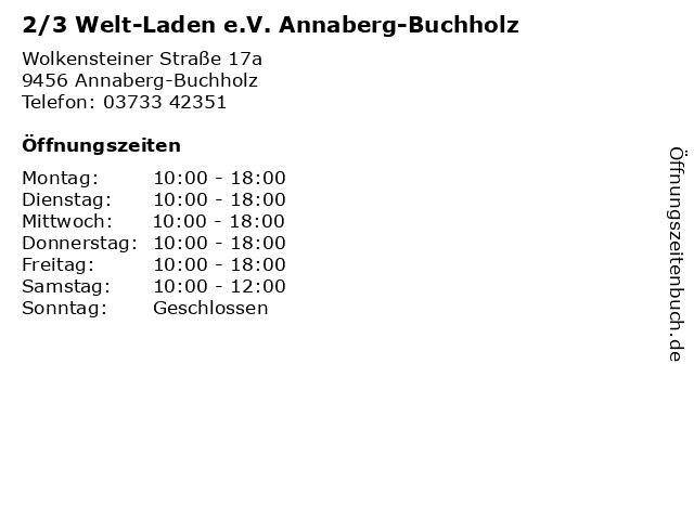 2/3 Welt-Laden e.V. Annaberg-Buchholz in Annaberg-Buchholz: Adresse und Öffnungszeiten