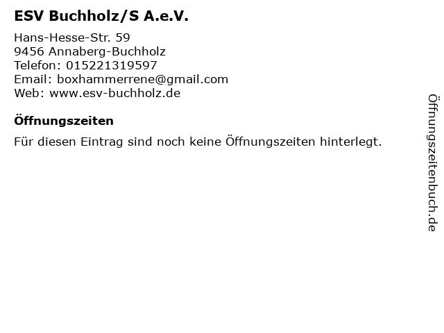 ESV Buchholz/S A.e.V. in Annaberg-Buchholz: Adresse und Öffnungszeiten