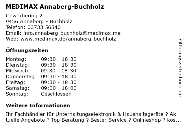 MEDIMAX Electronic Objekt Annaberg-Buchholz GmbH in Annaberg-Buchholz: Adresse und Öffnungszeiten