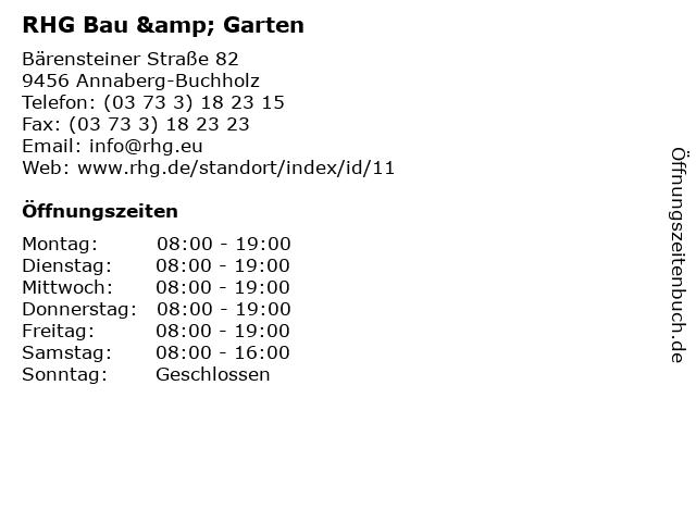 RHG Bau & Garten in Annaberg-Buchholz: Adresse und Öffnungszeiten
