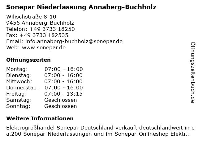 Sonepar Niederlassung ist für Sie geöffnet in Annaberg-Buchholz: Adresse und Öffnungszeiten