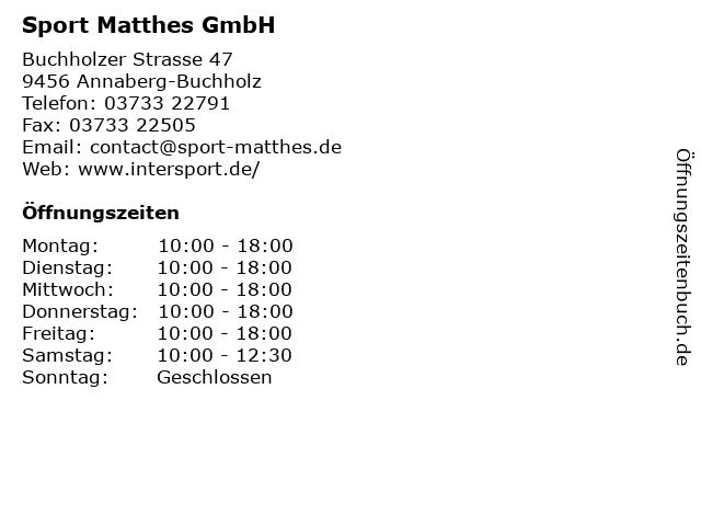 Sport Matthes GmbH in Annaberg-Buchholz: Adresse und Öffnungszeiten