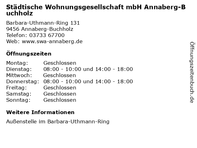Städtische Wohnungsgesellschaft mbH Annaberg-Buchholz in Annaberg-Buchholz: Adresse und Öffnungszeiten