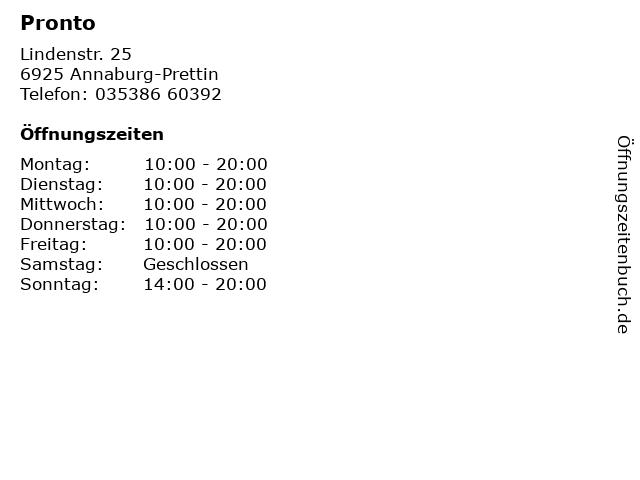 Pronto in Annaburg-Prettin: Adresse und Öffnungszeiten