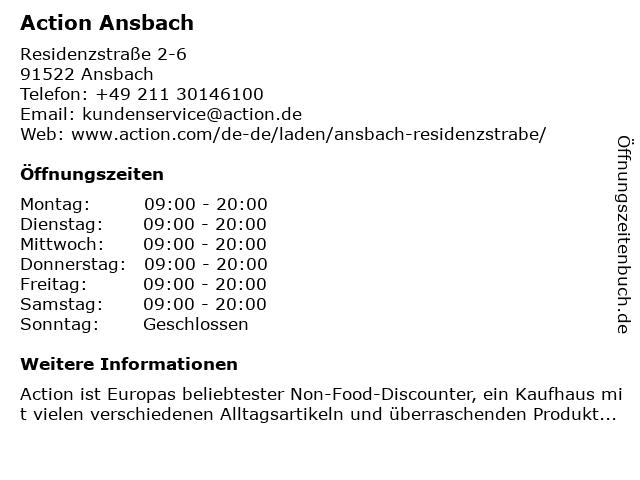 Action Deutschland GmbH in Ansbach: Adresse und Öffnungszeiten