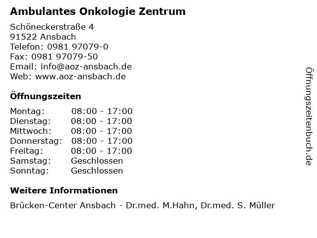 Ambulantes Onkologie Zentrum in Ansbach: Adresse und Öffnungszeiten