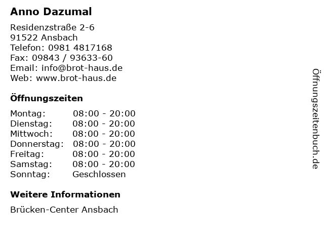 Anno Dazumal in Ansbach: Adresse und Öffnungszeiten