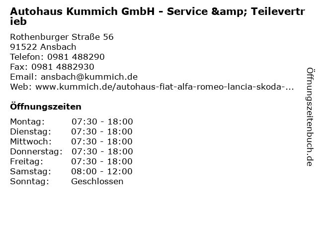 Autohaus Kummich GmbH - Service & Teilevertrieb in Ansbach: Adresse und Öffnungszeiten